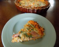 Spinach and Bacon Quiche With Sweet Potato Pastry
